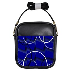 Blue Abstract Pattern Rings Abstract Girls Sling Bags
