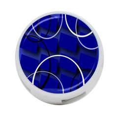 Blue Abstract Pattern Rings Abstract 4 Port Usb Hub (two Sides)