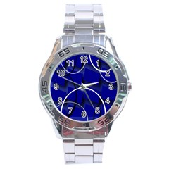Blue Abstract Pattern Rings Abstract Stainless Steel Analogue Watch