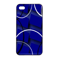 Blue Abstract Pattern Rings Abstract Apple Iphone 4/4s Seamless Case (black)