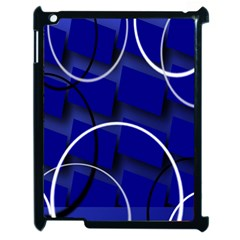 Blue Abstract Pattern Rings Abstract Apple Ipad 2 Case (black)