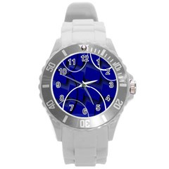Blue Abstract Pattern Rings Abstract Round Plastic Sport Watch (l)