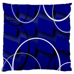 Blue Abstract Pattern Rings Abstract Large Cushion Case (one Side)