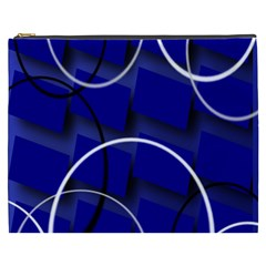 Blue Abstract Pattern Rings Abstract Cosmetic Bag (XXXL)