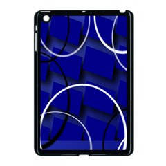 Blue Abstract Pattern Rings Abstract Apple iPad Mini Case (Black)