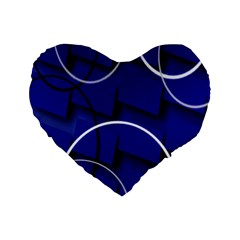 Blue Abstract Pattern Rings Abstract Standard 16  Premium Heart Shape Cushions