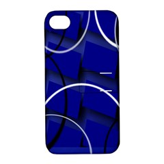 Blue Abstract Pattern Rings Abstract Apple iPhone 4/4S Hardshell Case with Stand