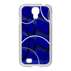 Blue Abstract Pattern Rings Abstract Samsung GALAXY S4 I9500/ I9505 Case (White)