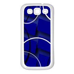Blue Abstract Pattern Rings Abstract Samsung Galaxy S3 Back Case (white)