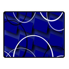 Blue Abstract Pattern Rings Abstract Double Sided Fleece Blanket (small)