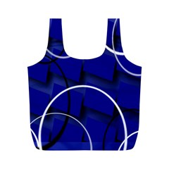 Blue Abstract Pattern Rings Abstract Full Print Recycle Bags (M)