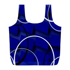 Blue Abstract Pattern Rings Abstract Full Print Recycle Bags (l)