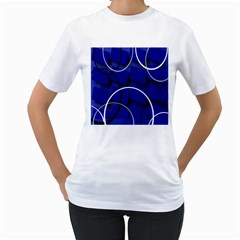 Blue Abstract Pattern Rings Abstract Women s T Shirt (white)
