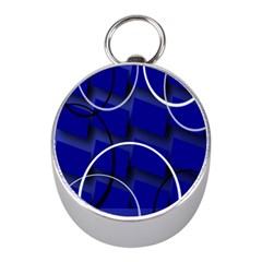 Blue Abstract Pattern Rings Abstract Mini Silver Compasses