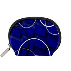Blue Abstract Pattern Rings Abstract Accessory Pouches (Small)