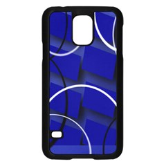 Blue Abstract Pattern Rings Abstract Samsung Galaxy S5 Case (black)