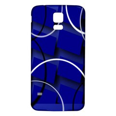 Blue Abstract Pattern Rings Abstract Samsung Galaxy S5 Back Case (White)