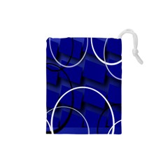 Blue Abstract Pattern Rings Abstract Drawstring Pouches (small)
