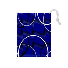Blue Abstract Pattern Rings Abstract Drawstring Pouches (Medium)