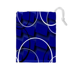 Blue Abstract Pattern Rings Abstract Drawstring Pouches (Large)