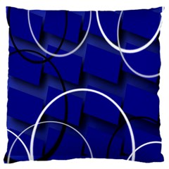 Blue Abstract Pattern Rings Abstract Large Flano Cushion Case (One Side)