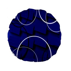 Blue Abstract Pattern Rings Abstract Standard 15  Premium Flano Round Cushions