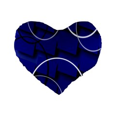 Blue Abstract Pattern Rings Abstract Standard 16  Premium Flano Heart Shape Cushions