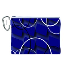 Blue Abstract Pattern Rings Abstract Canvas Cosmetic Bag (L)
