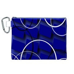 Blue Abstract Pattern Rings Abstract Canvas Cosmetic Bag (xl)
