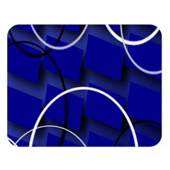 Blue Abstract Pattern Rings Abstract Double Sided Flano Blanket (Large)