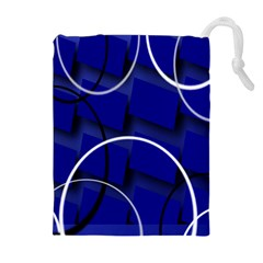 Blue Abstract Pattern Rings Abstract Drawstring Pouches (Extra Large)