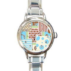 Part Background Image Round Italian Charm Watch