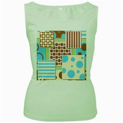 Part Background Image Women s Green Tank Top