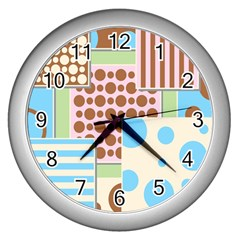 Part Background Image Wall Clocks (Silver)