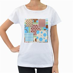 Part Background Image Women s Loose Fit T Shirt (white)