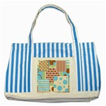 Part Background Image Striped Blue Tote Bag Front