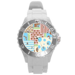 Part Background Image Round Plastic Sport Watch (L)