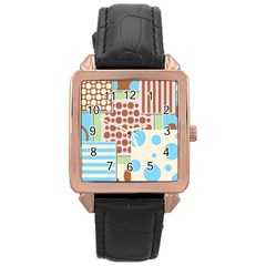 Part Background Image Rose Gold Leather Watch