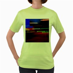 Abstract Background Pictures Women s Green T-Shirt