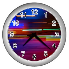 Abstract Background Pictures Wall Clocks (Silver)