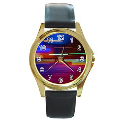 Abstract Background Pictures Round Gold Metal Watch