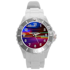 Abstract Background Pictures Round Plastic Sport Watch (l)