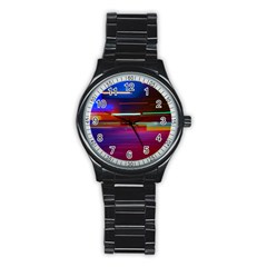 Abstract Background Pictures Stainless Steel Round Watch