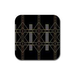 Simple Art Deco Style Art Pattern Rubber Square Coaster (4 pack)