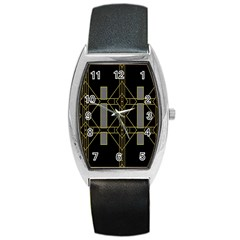 Simple Art Deco Style Art Pattern Barrel Style Metal Watch