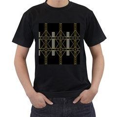 Simple Art Deco Style Art Pattern Men s T Shirt (black) (two Sided)