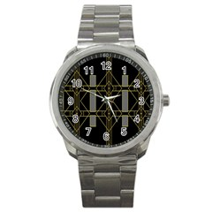 Simple Art Deco Style Art Pattern Sport Metal Watch