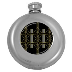 Simple Art Deco Style Art Pattern Round Hip Flask (5 Oz)