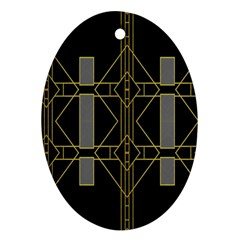 Simple Art Deco Style Art Pattern Oval Ornament (Two Sides)