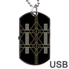 Simple Art Deco Style Art Pattern Dog Tag USB Flash (Two Sides)